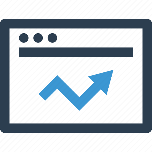 analytics, arrow, browser, business, chart, internet, up icon