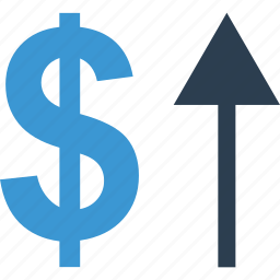 arrow, currency, dollar, growing, high, sign, up icon