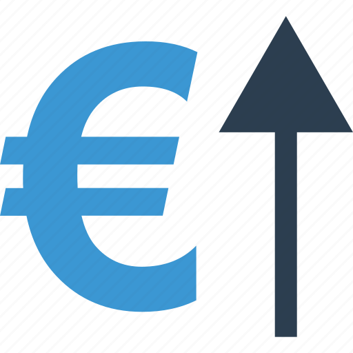 arrow, currency, euro, good, growing, up icon