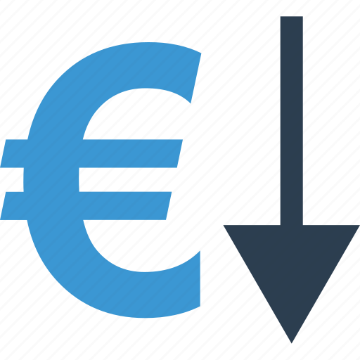 arrow, below, currency, down, euro, low, sign icon