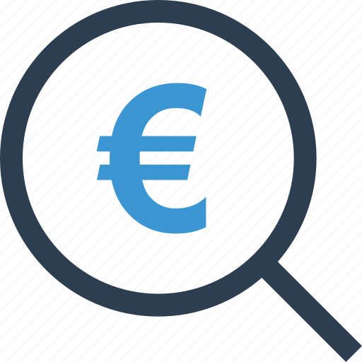 euro, find, look, magnifier, money, search, sign icon