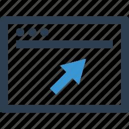 arrow, click, mouse, online, web icon