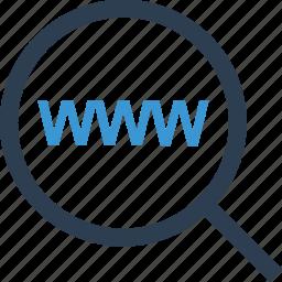 internet, magnifier, online, search, web, www icon