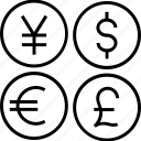 currency, dollar, forex trading, pound, yen icon