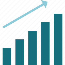 graph, growth, increase, progress, rise, stocks, uptrend icon