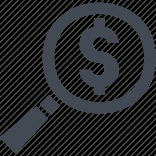 cash, finance, magnifier, money icon