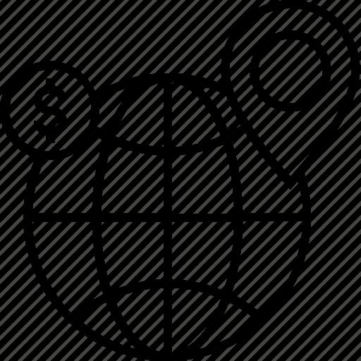 branches, dollar, globe, location, worldwide icon