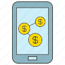 finance, link, loan, mobile, money, phone icon