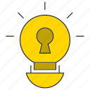 creative, idea, key, light bulb, lock, security icon