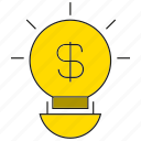 creative, idea, light bulb, money icon