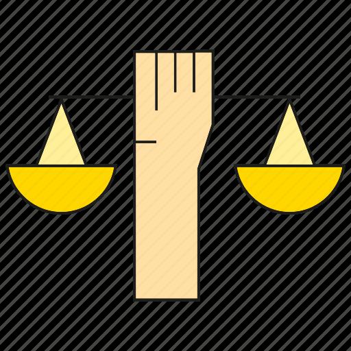 balance scale, hand, lift icon