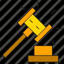 bid, gavel, hammer, justice, tender icon