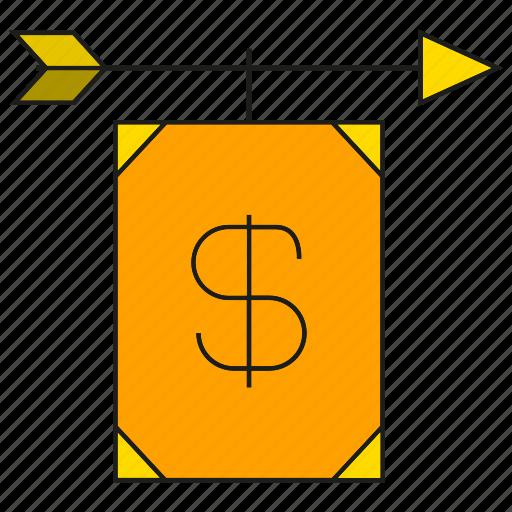 arrow, bank, finance, money icon