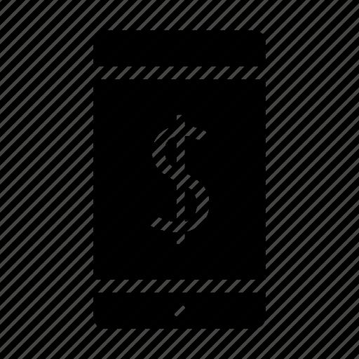 bank, dollar, finance, money, smartphone icon