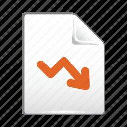 analytics, arrow, chart, document, down, statistics icon