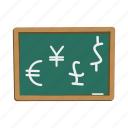board, dollar, euro, finance, financial, jen, pound icon
