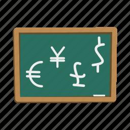 board, dollar, euro, finance, financial, jen, pound icon