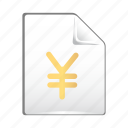 currency, document, finance, jen, money icon