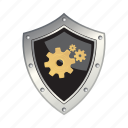 gear, protection, safety, security, shield icon