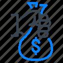 bag, money, dollar, hand