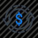 dollar, money, arrow, turnover, finance