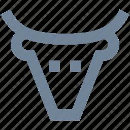 animal, bank, bull, finance, head, line, market icon