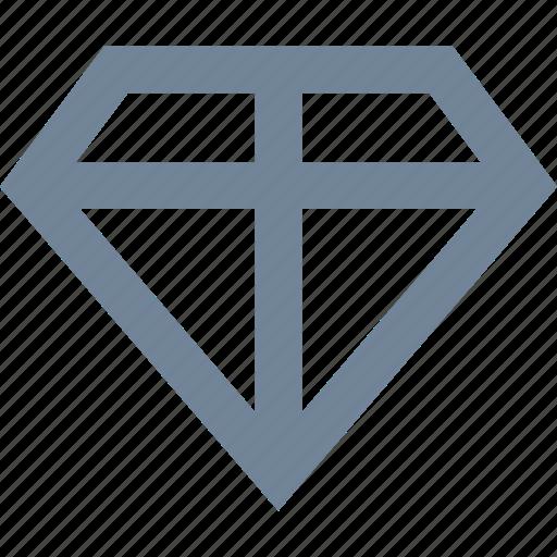 bank, diamond, finance, line, precious, stone icon