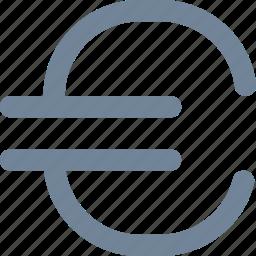 bank, convertion, euro, finance, line, money, sign icon