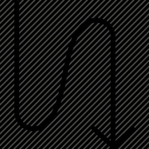 arrow, direction, down, downward, flow, navigation, zig zag icon