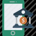 building, internet, internet banking, mobile banking, online banking icon