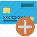 atm card, credit card, debit card, payment method, plus icon
