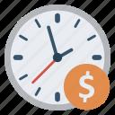 alarm, clock, dollar, money, time icon