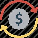 arrows, business, cash, coin, dollar sign icon