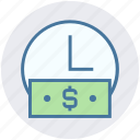 business time, clock, dollar, finance, note, timer icon