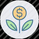 business, coin, dollar, finance, flower, grow, plant
