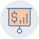 board, currency, dollar, dollar sign, finance, report icon