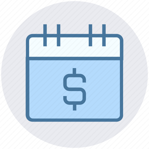 business, calendar, dollar, money, schedule, timeframe icon