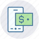 dollar, dollar note, finance, mobile, online banking, online payment icon