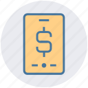 dollar, dollar sign, mobile, online payment, phone, smartphone icon