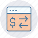 arrows, currency, dollar, online, right and left arrows, webpage icon