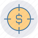 business, campaign, dollar, finance, investment, marketing, target icon