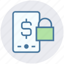 dollar, finance, lock, mobile, mobile banking, safe banking icon