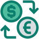 arrows, coins, currency, dollar, euro, exchange, money icon