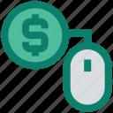 cash, click, coin, dollar, dollar sign, mouse, ppc