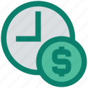 alarm, clock, dollar, money, time, time is money icon