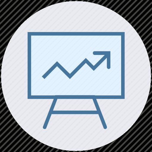 arrow, board, chart, diagram, office, presentation, up icon