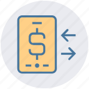 arrow, dollar, dollar sign, exchange, mobile, online payment, smartphone icon