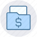 archive, data, document, dollar, file, folder, money icon