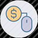 cash, click, coin, dollar, dollar sign, mouse, ppc icon