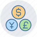 cash, coins, currency, dollar, euro, exchange, yen icon